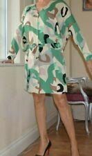 DIANE VON FURSTENBERG DVF 3/4 Slv Full Top Fittd Skirt Silk Dress Gren Pre Own M