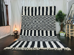 "Handmade Moroccan Beni Ourain Rug Carpet 6'7""x10'1"" Striped White Black Wool Rug"