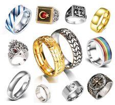 Men's Rings Stainless Steel Brushed Titanium Onyx Signet Wedding Band Thumb Ring