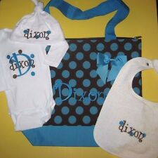 Personalized Baby BODYSUIT One Piece T Shirt HAT BIB & Diaper TOTE BAG Gift Set