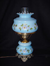 ViNTaGe BLuE GLaSs~Hand Painted PuRPLE FLoWeR GWTW~Hurricane~Table Lamp w/Shade