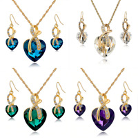 Women Love Heart Crystal Necklace and Earrings Set 18k Gold Plated Rhinestones