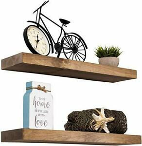 Floating Shelves Rustic Wood Wall Set of 2 Easy Install Highest Quality New