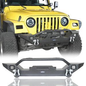 Front Bumper w/ Winch Plate & 2x 18W Spotlights for 1997-2006 Jeep Wrangler TJ
