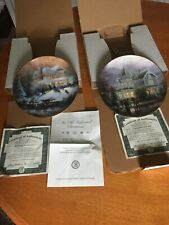Thomas Kinkade Collector Plates 1st Ed Certified A Holiday Gathering / All Frien