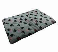 "30"" Dog Cat Mat Soft Plush Metal Crate Floor Mat 2cm Thick Grey with Black Paws"