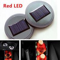 Solar LED Flashing Cars Cup Holder Pad Mat Auto Interior Light -Red