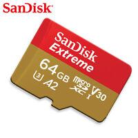 SanDisk 64GB Extreme A2 Micro SD SDXC Speicherkarte 160MB/s UHS-I V30 SDSQXA2