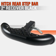 "2"" Universal Black Receiver Hitch Rear Iron Step Bar + Tow Kit"