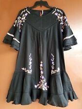 New Free People Pavlo Cotton Embroidered Dress Shift Black Medium Retail $128.