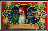 Colorful~Santa Claus - Blue Robe ~Candles~Toys~Antique Christmas Postcard-a843