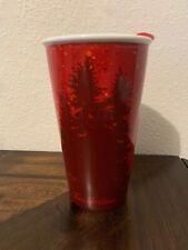 Tim Hortons Coffee Ceramic Travel Mug Deer Elk Forest Red Lid 2017