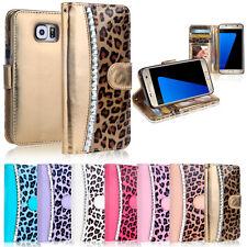 Diamond Leopard WALLET FLIP CASE COVER For Samsung Galaxy S7 & S7 Edge