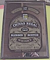 Ancien Miroir de Bar Publicitaire Vintage CHIVAS REGAL FOUNDED 1801 BLENDED SCOT