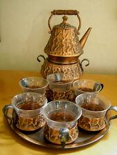 Teeservice Punschservice Kupfer für 6 Pers. Teekanne Gläser Stövchen Tablett