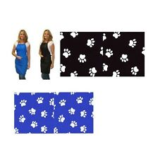 STYLIST WEAR Bib Grooming Apron - Black or Blue w/White Paw Prints