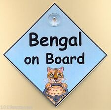 Bengal Cat sign on board car sign from original painting by Suzanne Le Good
