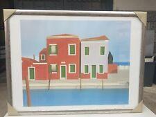 "Vittorio  Stoppa "" Burano 86 "" - Venezia - Italia Italy quadro litografia  firma"