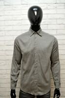 VERSACE JEANS Camicia Grigia Uomo Taglia M Comoda Maglia Polo Manica Lunga Shirt