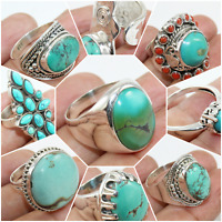 925 SOLID STERLING SILVER TIBETAN TURQUOISE HANDMADE JEWELRY RING CHRISTMAS GIFT