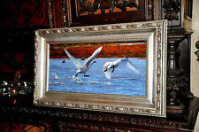 Fine Art Oil Painting of Swans  by Well listed Artist L inda B esse