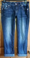 Woman's Miss Me Rhinestone & Leather Embellished Pocket Easy Crop Jeans Size 26