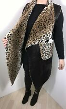 Gilet Leopard Print Black Faux Fur Faux Leather Luxurious Plus Size 14-22 NEW