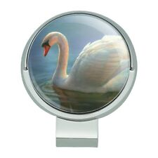 Mute Swan Morning Light Painting Golf Hat Clip With Magnetic Ball Marker
