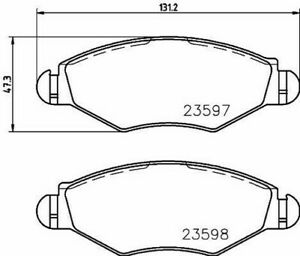 Set 4 -beläge MINTEX MDB2131 Für Citroën Peugeot 1609252980 425212
