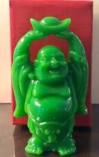 "4"" Green Happy Buddha Hands Up Holding Ingot Good Luck Fortune Feng Shui"