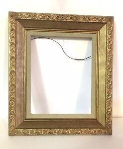 Vintage Antique Look Picture Linen Inset Frame Gold Gesso Baroque Fits 10 x 8