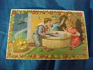 Early 20thc THE JOYS Of HALLOWEEN POSTCARD -Kids PLAYING PARTY GAME
