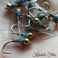 GoldHead Olive Nymph Size 10 (Set of 3) Fly Fishing Flies Grayling beads