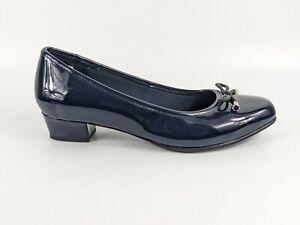Clarks Navy Low Heel Slip On Shoes Uk 6 Wide Worn Once