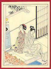 Dessin encre de chine & aquarelle Japon Hand made china ink signé Geneviève n20