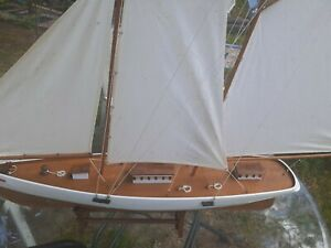 """Stunning Vintage Hand-Crafted Wooden Sailboat Model w/Stand 29"""" long x 28"""" high"""