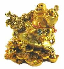 Golden Laughing Buddha Sitting on Dragon Tortoise for Wealth,Luck,Peace,Happines