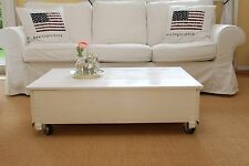 Table Basse Coffre de Salon Bois Massif Vintage Shabby Loft Blanc