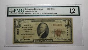 $10 1929 Lebanon Kentucky KY National Currency Bank Note Bill Ch #3988 F12 PMG