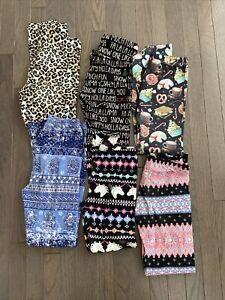 Lot Of 6 Pairs Graphic Girls Leggings Size 10/12