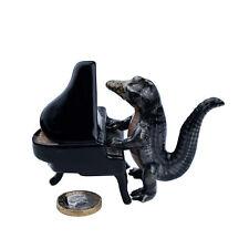 Miniature Ceramic Crocodile Piano Player Ornament