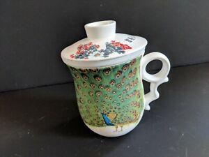 Teavana PEACOCK Porcelain Mug Tea Cup w Infuser Lid Starbucks ~ NICE!!