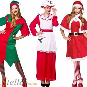 Ladies Christmas Elf Santa Claus Xmas Outfit Womens Fancy Dress Costumes