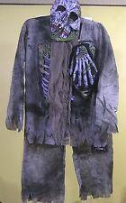 Vintage Childs Halloween Costume Walking Dead Skeleton Graveyard Mask Hands Too