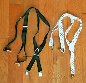 Clip on adjustable suspenders black and white lot of 2