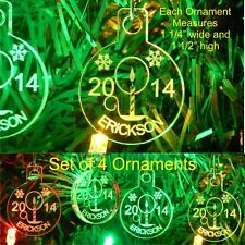 Candle Christmas Ornaments Name/Yr Mini Miniature Personalized Acrylic Set 4