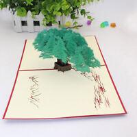 3D Paper Cut Greeting Card Postcard Green Tree Birthday Invitation Card Gift S