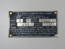 Vintage Lance Camper Plaque Travel Trailer Emblem Badge Ornament Camper RV ID