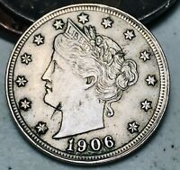 1906 Liberty V Nickel 5 Cents 5C AU High Grade Details Good Date US Coin CC5077