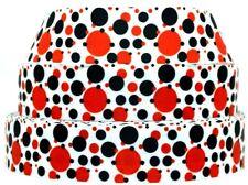 "Grosgrain Ribbon Ribbon 7/8"" & 1.5"" Ladybug Dots Red & Black Polka Dot Printed."